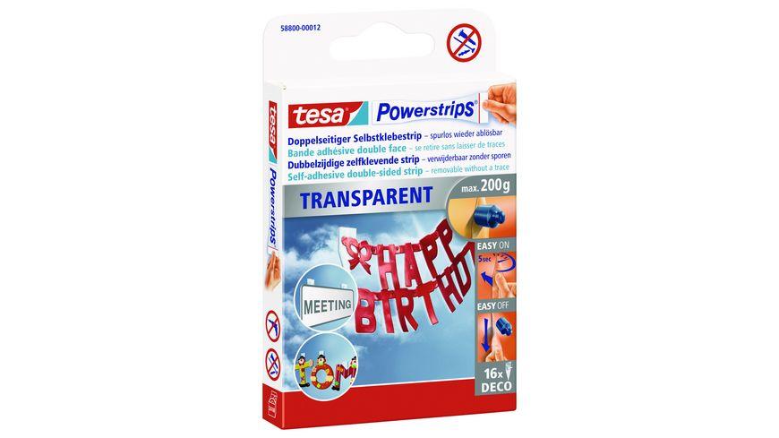 tesa Power Strips DECO transparent 16 Stueck