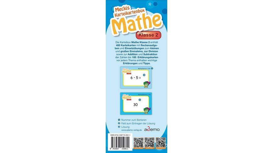 Karteibox Mathe Klasse 2 mit 400 farbigen Karteikarten und tollen Stickern