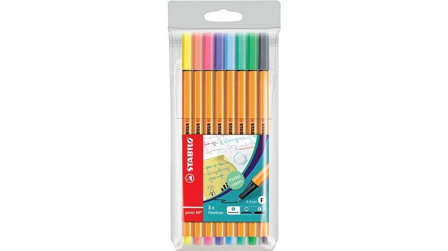 STABILO® Fineliner - STABILO point 88 - 8er Etui - Pastellfarben