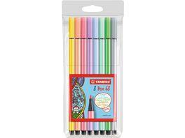 STABILO Premium Fasermaler Pen 68 Pastell 8er Etui