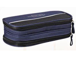 PAPERZONE Stiftebox blau mit 2 Zips