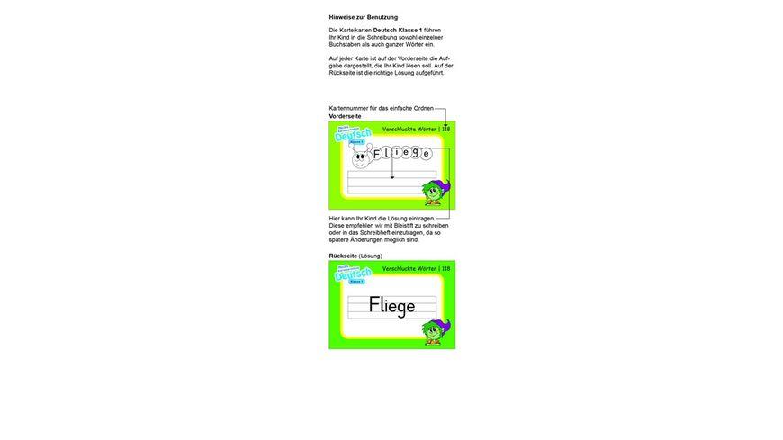 Karteibox Deutsch Klasse 1 mit 400 farbigen Karteikarten und tollen Stickern