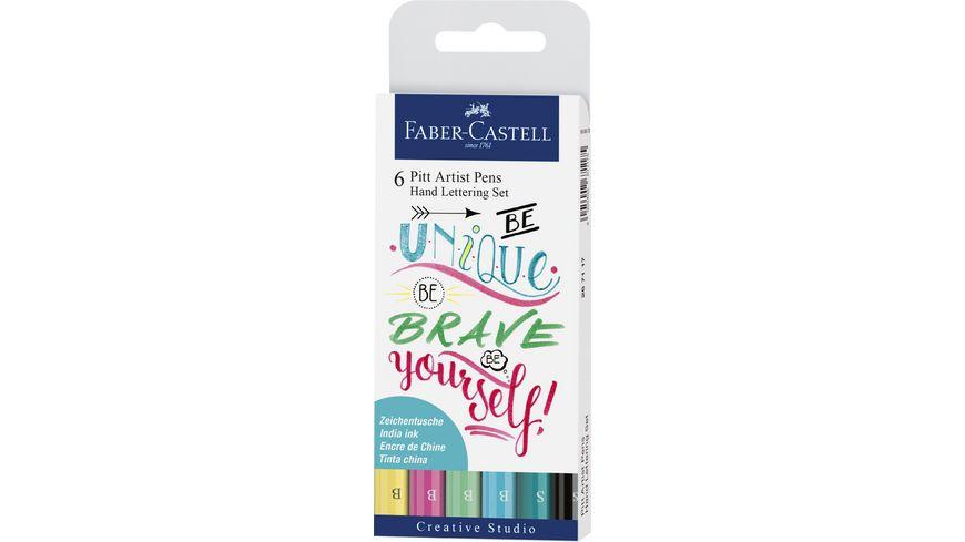 FABER CASTELL Hand Lettering Pitt Artist Pen 6er Etui Pastell