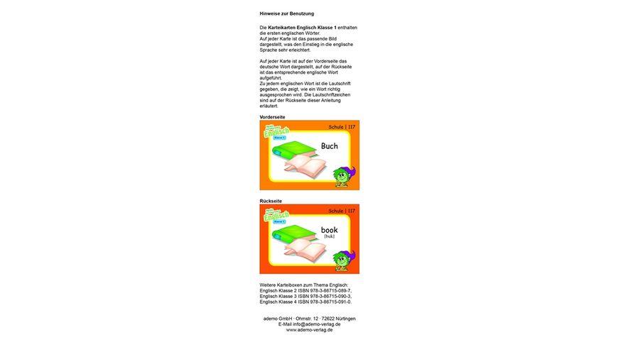 Karteibox Englisch Klasse 1 mit 400 farbigen Karteikarten und tollen Stickern