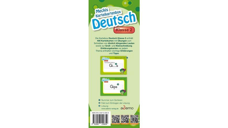 Karteibox Deutsch Klasse 2 mit 400 farbigen Karteikarten und tollen Stickern