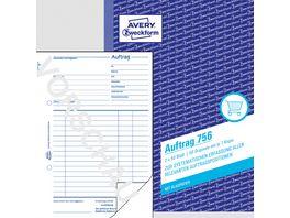 AVERY Zweckform Auftrag 756 2 Blatt ohne Perforation zum Verbleib im Buch DIN A5