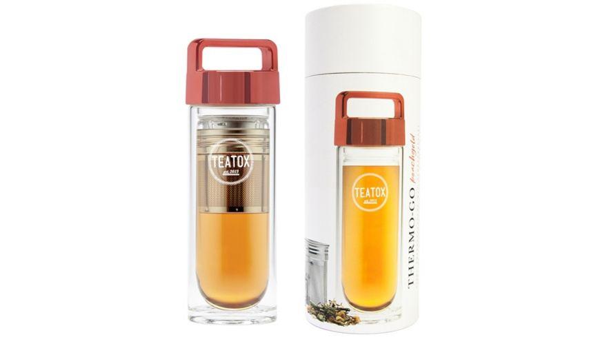 TEATOX Thermo Go rosegold 330ml Doppelwandige Glasflasche mit rosegoldenem Deckel