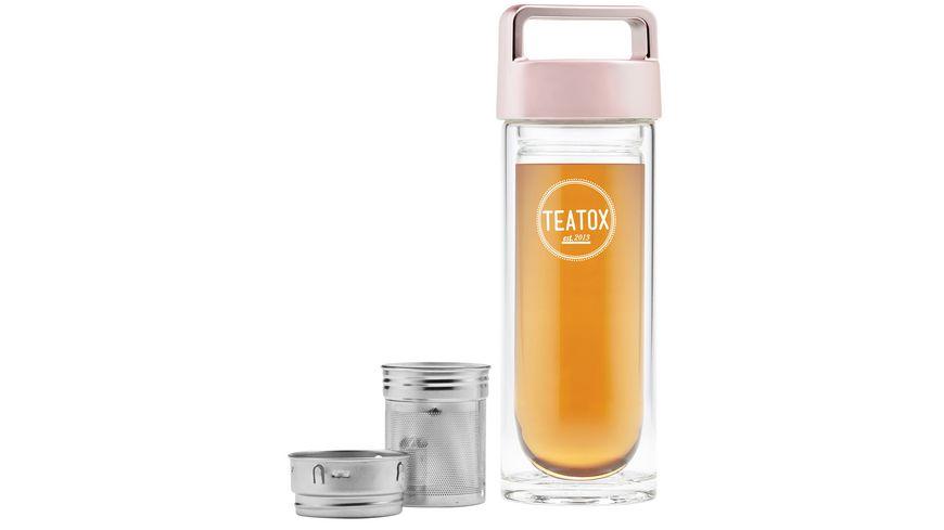 TEATOX Thermo Go peachgold 330ml Doppelwandige Glasflasche mit peachgoldenem Deckel