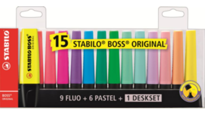 STABILO® Textmarker - STABILO BOSS ORIGINAL - 15er Tischset - 9 Leuchtfarben, 6 Pastellfarben