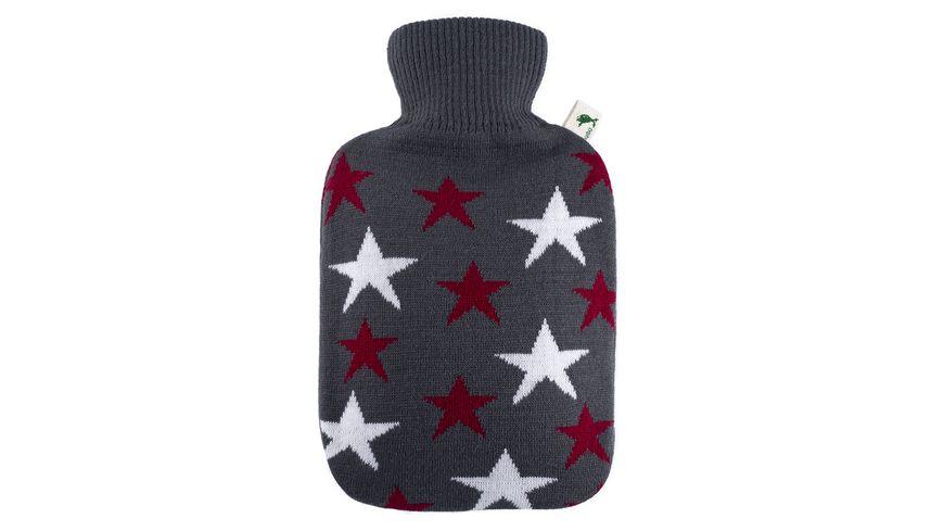 Hugo Frosch Waermflasche mit Strickbezug Sterne 1 8l grau bordeaux
