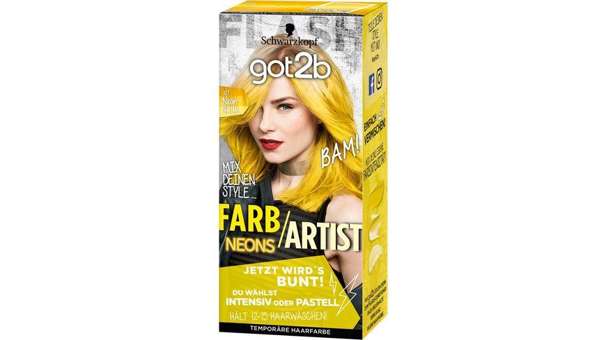 Schwarzkopf got2b Farb Artist 107 Neon Gelb Neons