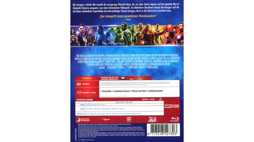 Avengers Infinity War Steelbook Limited Edition Blu ray 2D