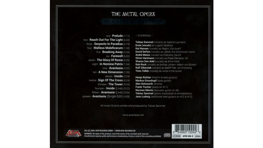 The Metal Opera Pt I Lim Digipak