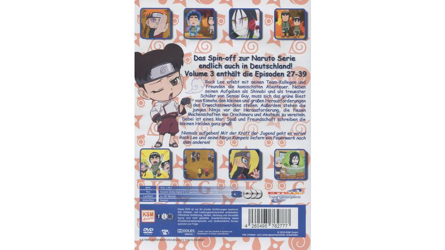 Naruto Spin Off Rock Lee und seine Ninja Kumpels Volume 3 Episode 27 39 3 DVDs