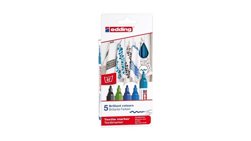 edding Textilmarker 4500 creative cool colours 5er Set
