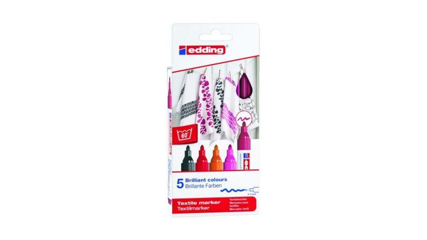edding Textilmarker 4500 creative warm colours 5er Set