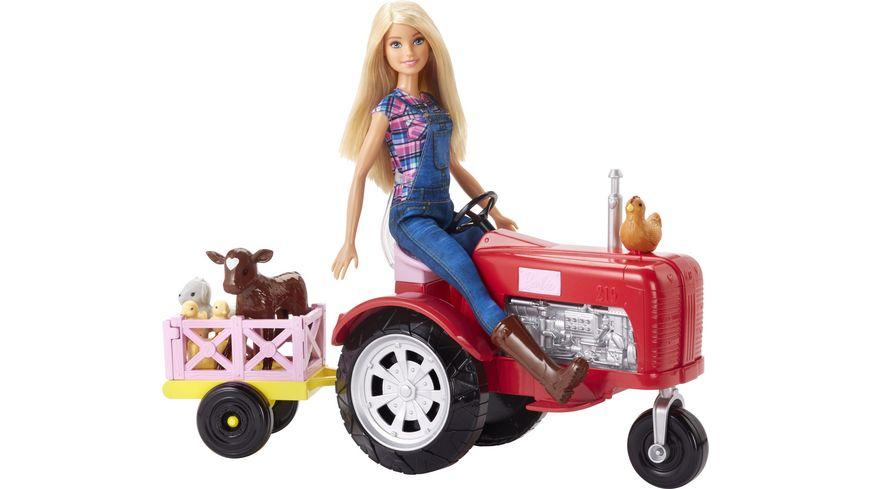 Mattel Barbie Baeuerin Puppe und Traktor Spielset