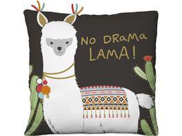 Happy Life Pluesch Kissen mit Lama Motiv Spruch No Drama Lama 45570