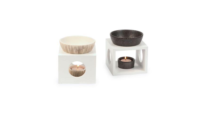 pajoma Duftlampe Keramik weiss braun