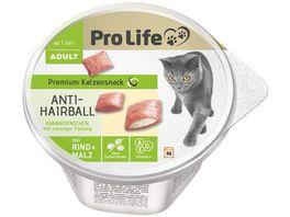 Pro Life Adult Premium Katzensnack Anti Hairball Knabbertaschen mit Rind Malz