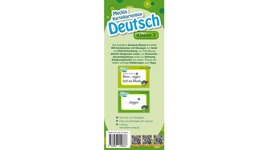 Karteibox Deutsch Klasse 3 mit 400 farbigen Karteikarten und tollen Stickern