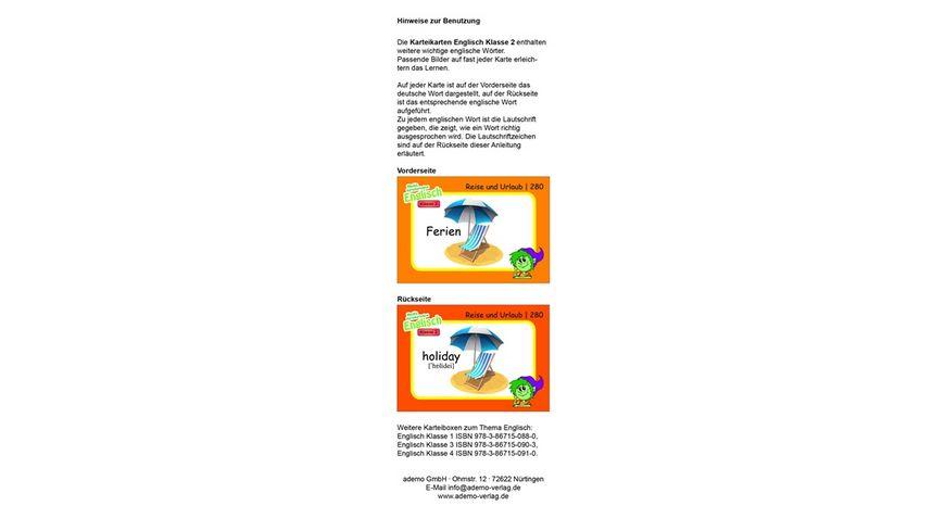 Karteibox Englisch Klasse 2 mit 400 farbigen Karteikarten und tollen Stickern