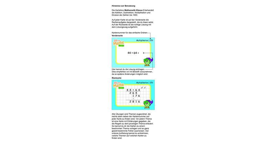 Karteibox Mathe Klasse 3 mit 400 farbigen Karteikarten und tollen Stickern