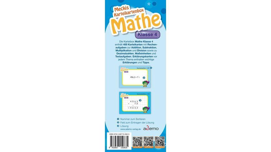 Karteibox Mathe Klasse 4 mit 400 farbigen Karteikarten und tollen Stickern