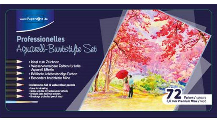 PAPERZONE Premium Aquarellbuntstifte im 72er Metalletui