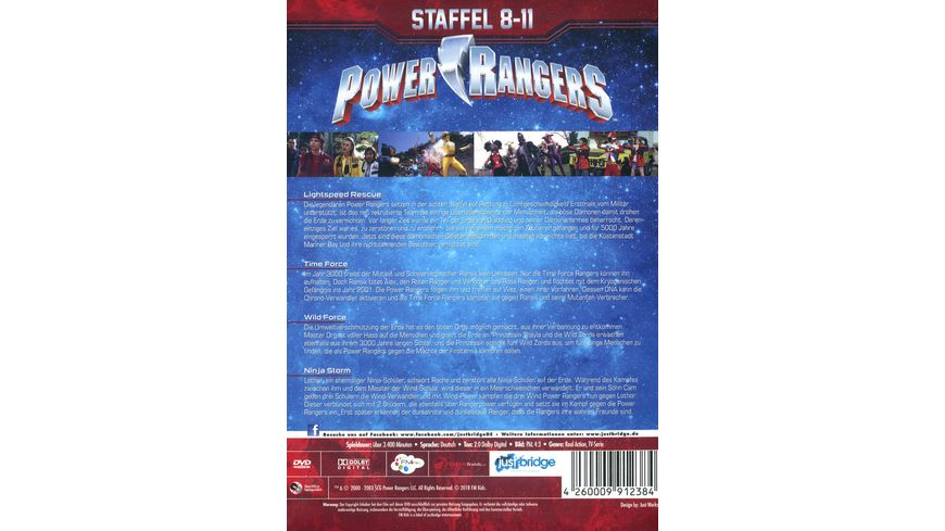 Power Rangers Staffel 8 11 enthaelt die Staffeln Lightspeed Rescue Time Force Wild Force und Ninja Storm 19 DVDs