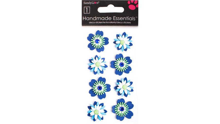 Handgemachte 3D Motiv Sticker Blumen blau gruen