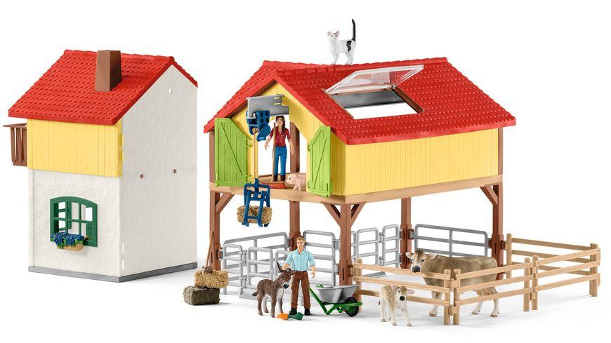 schleich farm world bauernhaus mit stall und tieren. Black Bedroom Furniture Sets. Home Design Ideas