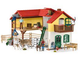Schleich 42407 Farm World Bauernhaus mit Stall und Tieren