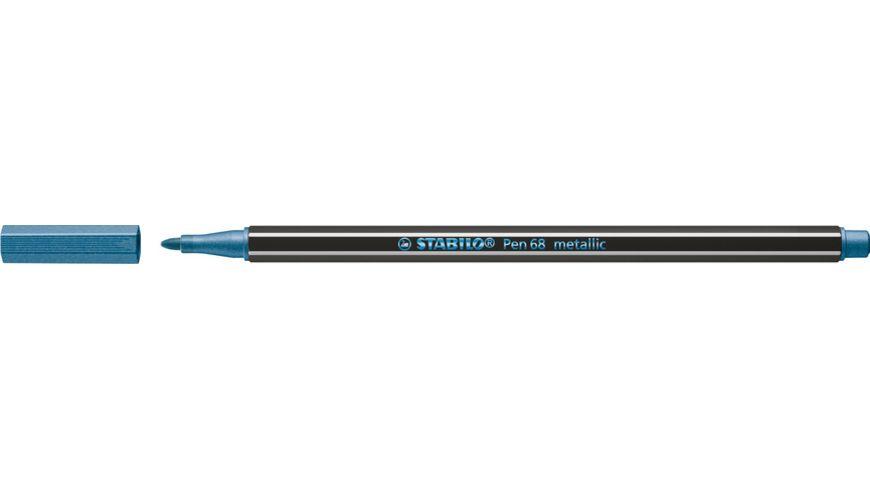 STABILO® Premium Metallic-Filzstift - STABILO Pen 68 metallic - Einzelstift - metallic blau