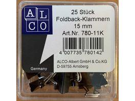 ALCO Fold Back Klammern 25 Stueck 15mm schwarz