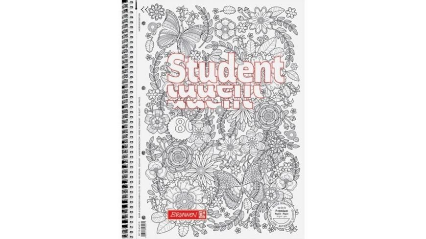 BRUNNEN Collegeblock Student ZENart Floral A4 80 Blatt Lineatur 28