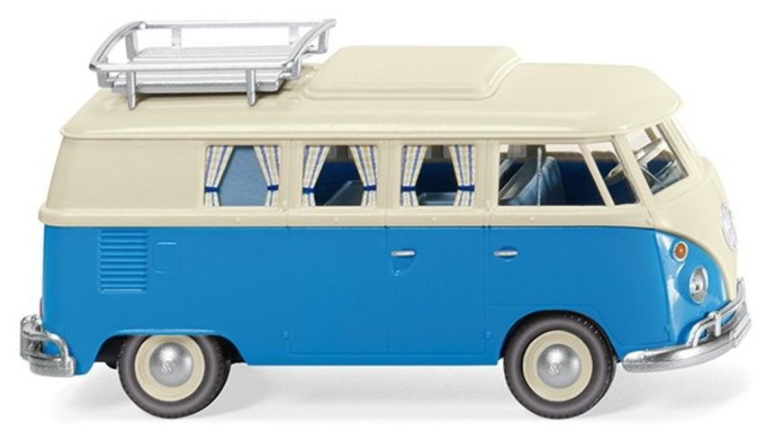 Wiking 079733 VW T1 Campingbus perlweiss blau