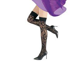 MOVE UP Damen Overknee mit Blumen Design