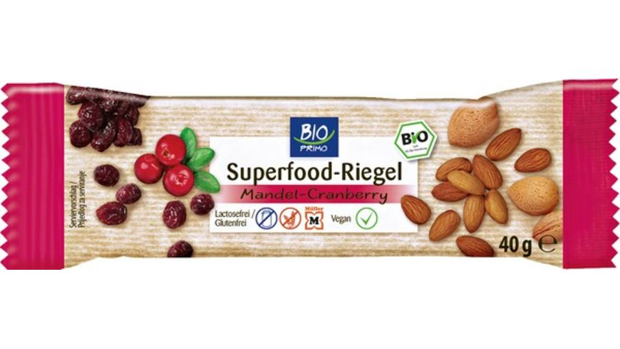 BIO PRIMO Superfood Riegel Mandel Cranberry