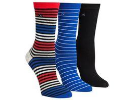 Calvin Klein Damen Socken gestreift 3er Pack