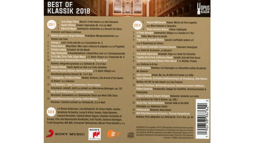 Best of Klassik 2018 Gala OPUS KLASSIK Preistraeger