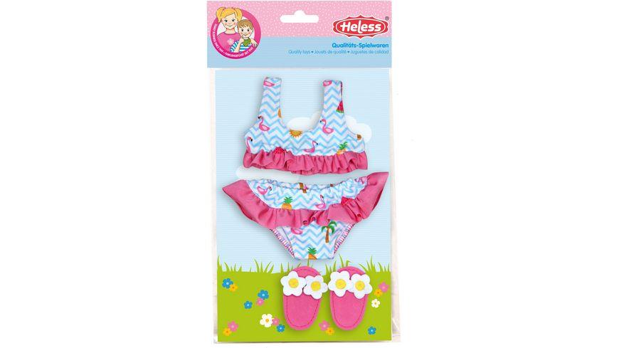 Heless - Flamingo-Bikini mit Badeschläppchen, Gr. 35 - 45 cm