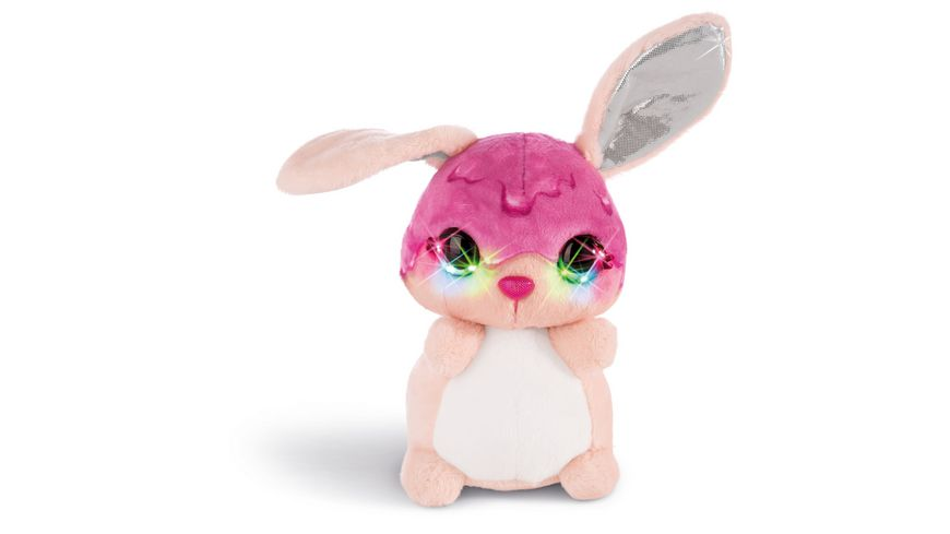 NICIdoos Flashies Kuscheltier Hase Tofflemoffle mit LED Augen 16 cm