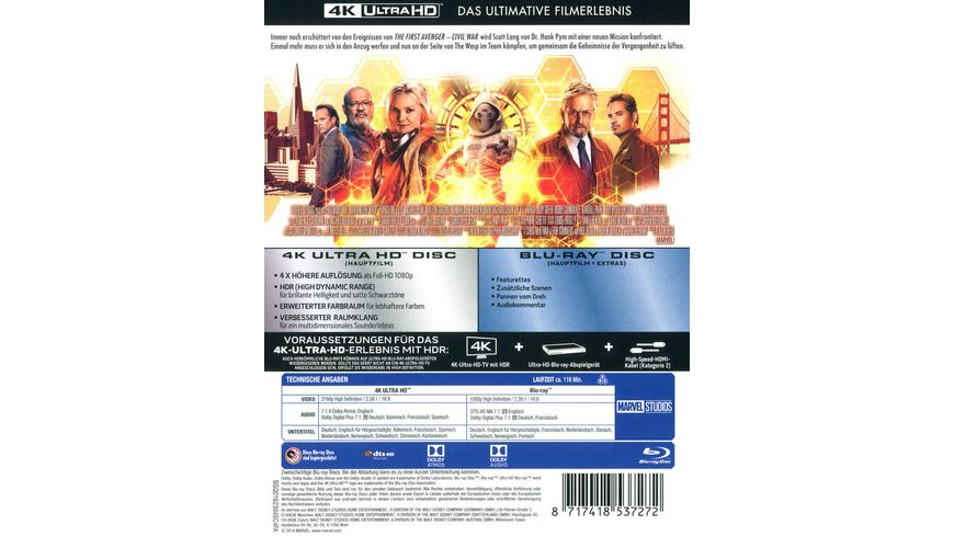 Ant Man and the Wasp 4K Ultra HD Blu ray 2D
