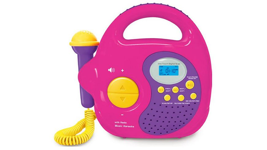 Mueller Toy Place Musik Player Radio und MP3 Wiedergabe mit Mikrofon pink