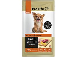 Pro Life Nassfutter fuer Hunde mit Kalb Huhn und Mango an Disteloel