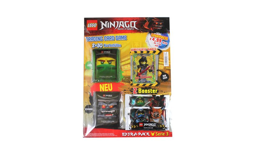 LEGO Ninjago III EXTRA Pack mit 2 Booster limitierter Gold Karte und 60 Schutzhuellen