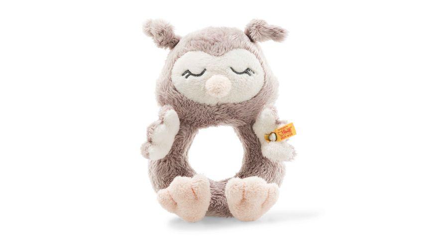 Steiff Soft Cuddly Friends Ollie Eule Greifring mit Rassel 14 cm