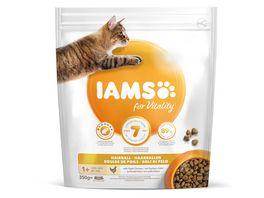 IAMS for Vitality Adult Katzen Trockenfutter Anti Haarballen mit frischem Huhn 350g