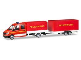 Herpa 093866 MAN TGE Doppelkabine mit Pritsche und Plane und Planenanhaenger Feuerwehr